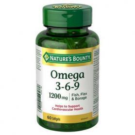 Omega 3 6 9, 1200 mg, 60 capsule, Natures Bounty, Walmark