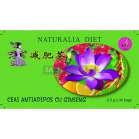 Ceai verde antiadipos de slabit cu ginseng, Naturalia Diet, 30 doze x 25g cutie