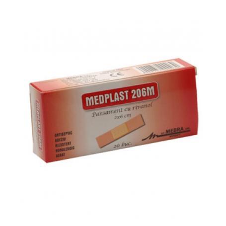 Pansament cu rivanol (plasturi) Medplast, 2 cm x 6 cm x 20 buc, Mebra
